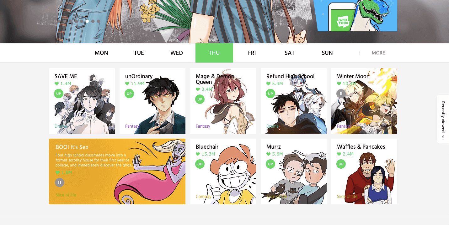 Webtoon site homepage