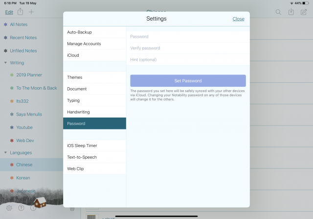 Notability How To Set Password