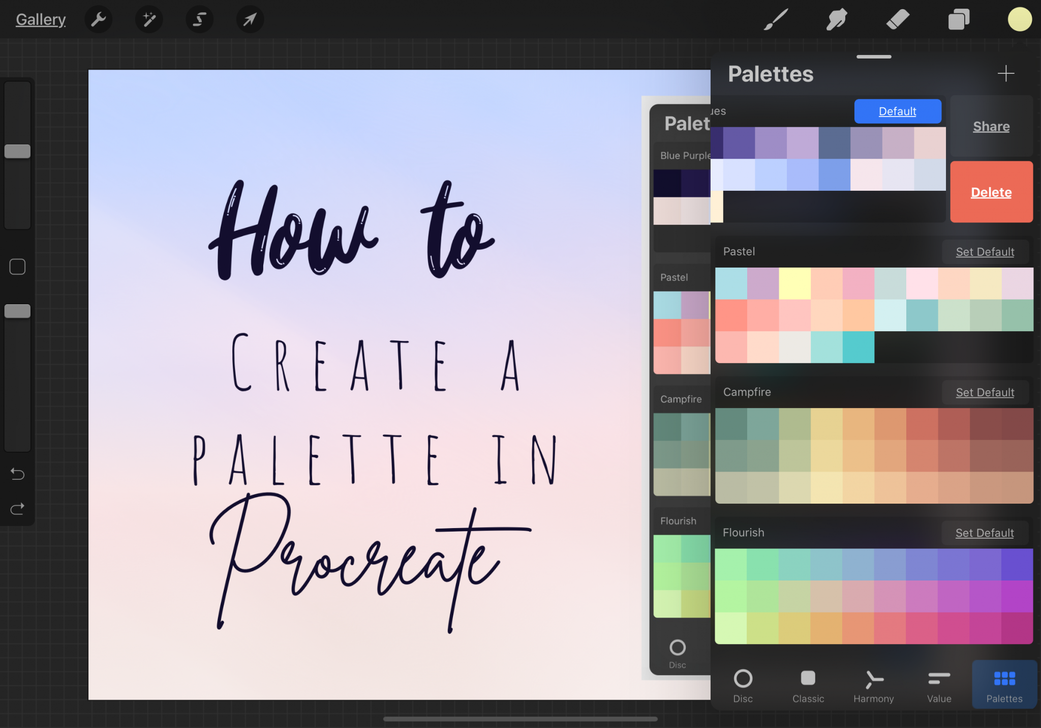 Procreate Palettes - How To Share And Delete