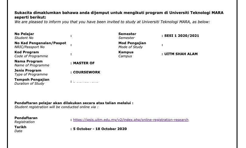 how to apply for UiTM Postgraduate Programmes Master Offer-Uitm
